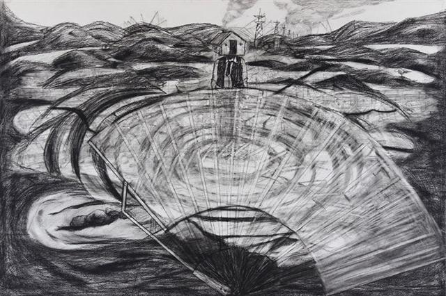 """""""Earthwork of Hadasti"""" (2013), Still from the stop motion video, 48  x 36in."""