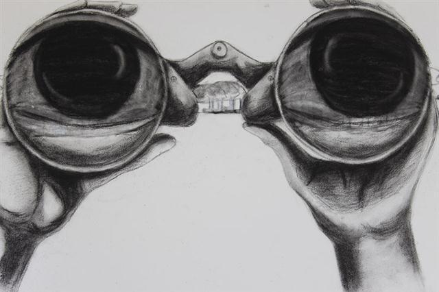 """Binoculars"" (2013), Still from the stop motion video, 48  x 36"