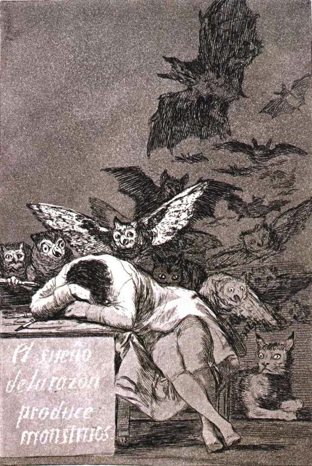 "Francisco de Goya, ""The Sleep of Reason Produces Monsters"" (TK YEAR). Image via NicoholasSpyer.com"