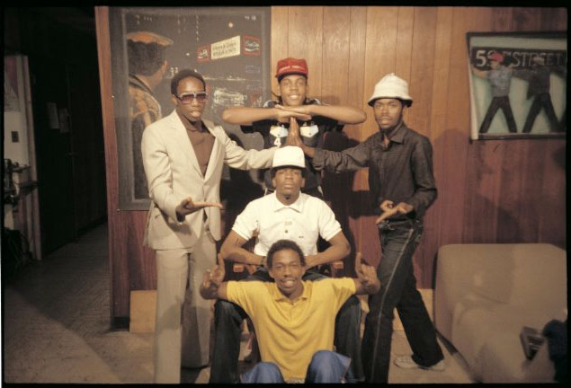 """Charlie Chase, Grandmaster Caz, J.D.L., Easy A.D. and Almighty K.G. in """"Wild Style"""" (via imdb.com)"""