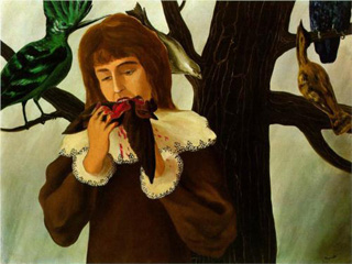 """Rene Magritte, """"Young girl eating a bird (The pleasure)"""" (1927)(via Wikipaintings)"""