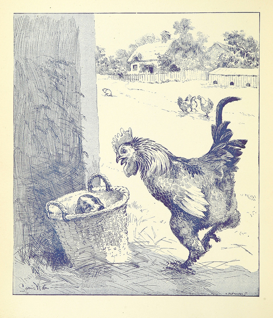 """More proof that puppies in baskets are timeless comes from this 1888 monograph, """"Our Farm. The troubles and successes thereof. The story told by F. W. P. and illustrated by L. Wain"""""""
