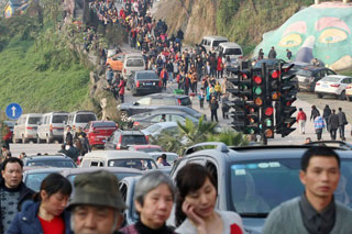 "Yangren Jie's ""14 traffic lights"" installation (photo by Michael Evans, via Shanghaiist)"