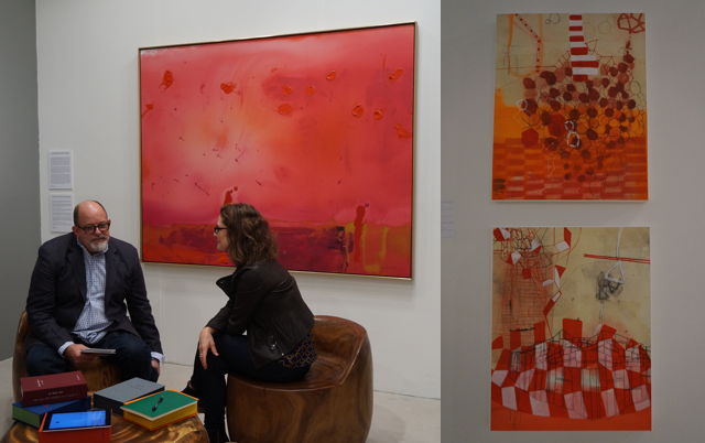 "Left: Helen Frankenthaler, ""Red Shift"" (1990); right: two mixed media on canvas works by Sarah Amos"