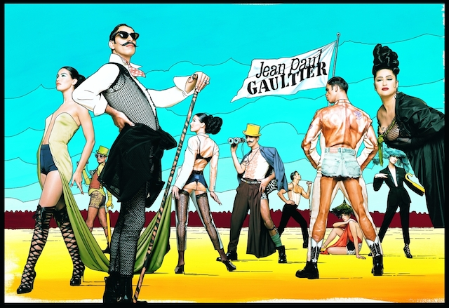 """Ad campaign for Jean Paul Gaultier's """"Elegance Contest"""" and """"Casanova at the Gym"""" women's and men's ready-to-wear spring-summer collections of 1992. Art direction and photography by Gaultier. © Jean Paul Gaultier"""