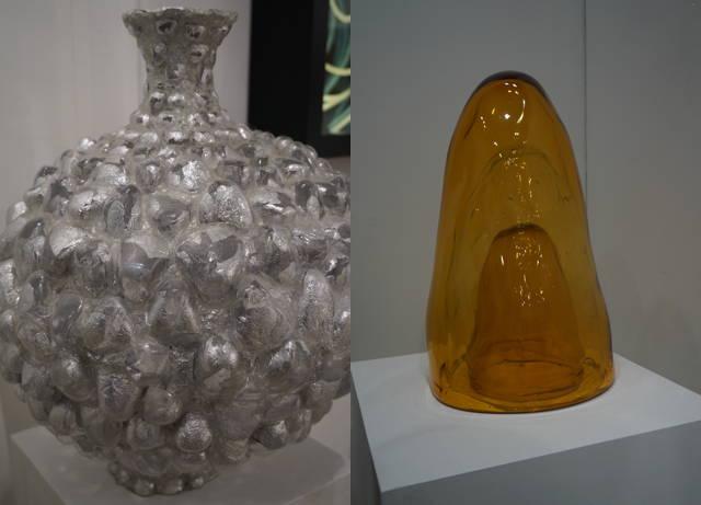 """Left: Shari Mendelson, """"Silver Vessel"""" (2011); right: Tristano di Robilant, """"1600 (with raindrops)"""" (2011)"""