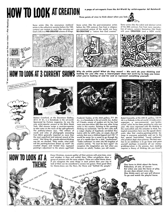 "Ad Reinhardt, ""How to Look at Creation, How to Look at 3 Current Shows, and How to Look at a Theme,"" PM (December 15, 1946) (© 2013 Estate of Ad Reinhardt / Artists Rights Society [ARS], New York; courtesy David Zwirner, New York/London)"