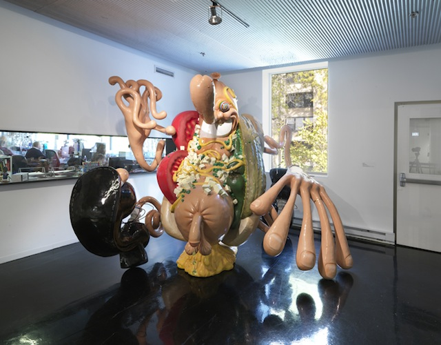 "Tony Tasset, ""Hot Dog Man,"" (2011). Fiberglass, steel, paint. 98 x 125 x108 inches."
