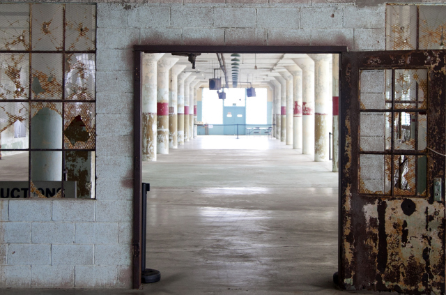 First floor of the New Industries Building at Alcatraz, site of the exhibition Ai Weiwei on Alcatraz (September 27, 2014–April 26, 2015); photo: Jan Stürmann, courtesy FOR-SITE Foundation