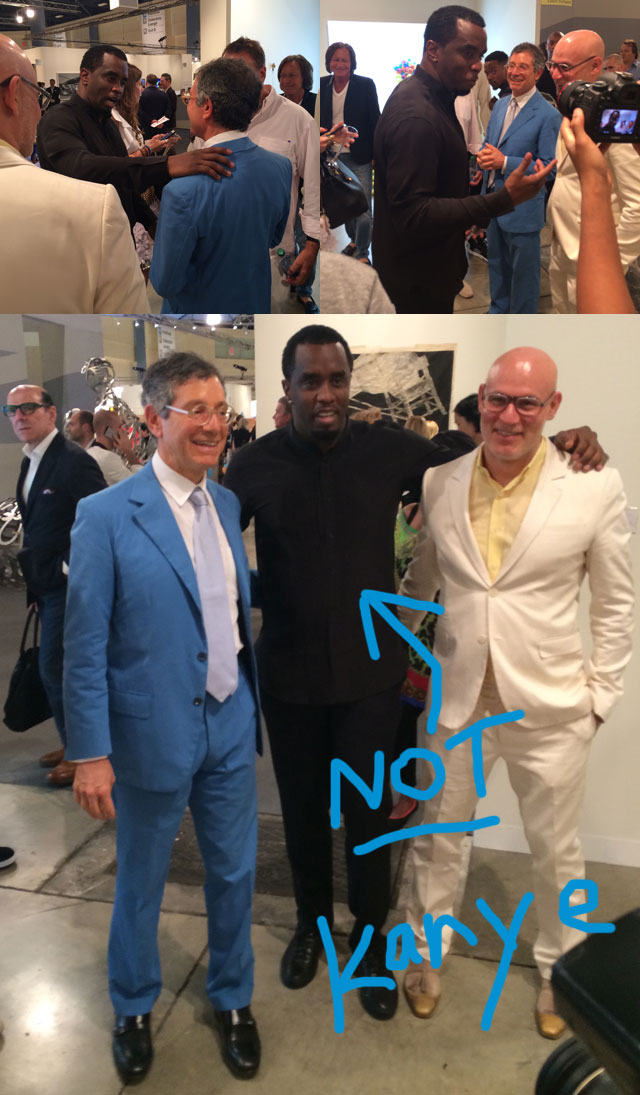 Diddy and Deitch meeting at Art Basel Miami Beach (photo by the author for Hyperallergic)