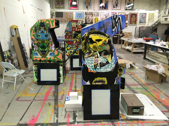A look at the Miami consoles while they were being put together in Faile's Brooklyn studio. (photo by the author for Hyperallergic)