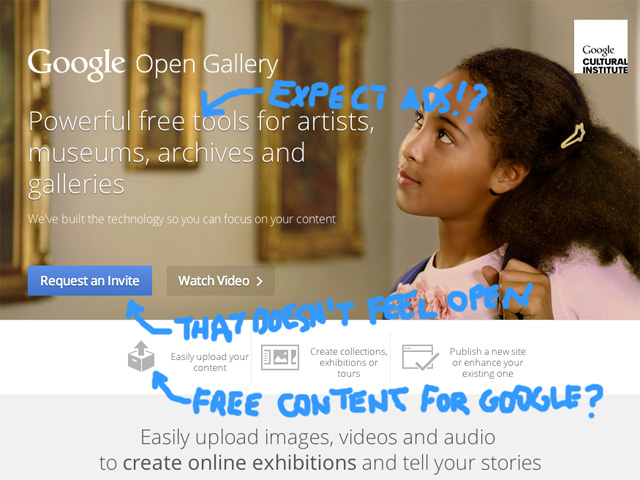 A cynics take on Google's new gallery initiative (image by Hrag Vartanian/Hyperallergic)