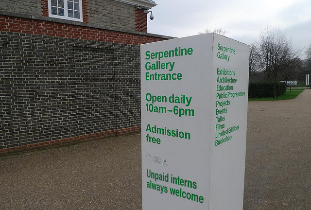 Our suggested change to the sign at the Serpentine Gallery in London. (original image via Walter Lim's Flickrstream)