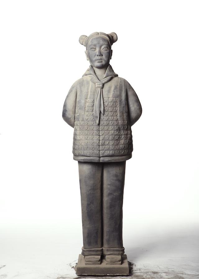 Prune Nourry, Terracotta Daughter #7, 2013, terracotta, 150 cm, photograph by Zachary Bako