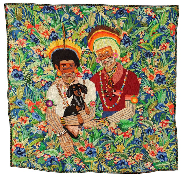 """Chiachio & Giannone, """"Familia Guaraní,"""" (2009). Hand embroidery with cotton threads, jewelry threads and rayon on fabric, 51 x 48 in. Courtesy of artist. Photo credit: Daniel Kiblisky."""