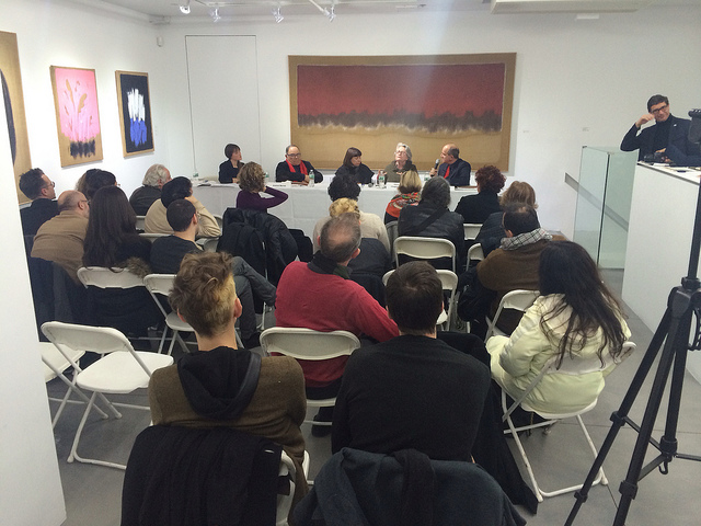 A December 11th panel discussion at BOSI Contemporary featured artists, curators, and academics discussing the work of Salvatore Emblema. (all images by the author for Hyperallergic)