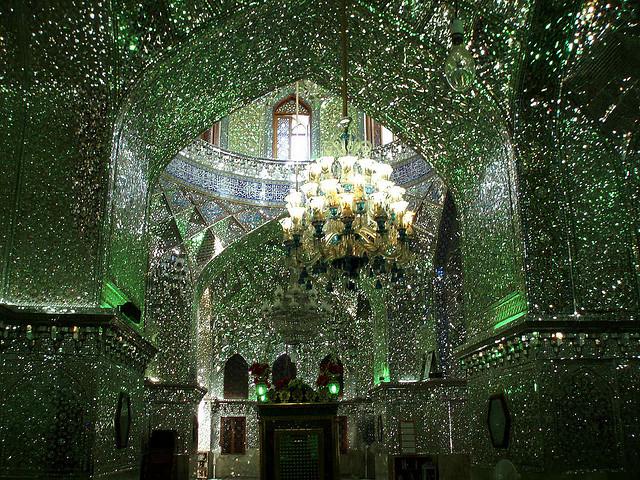 Inside the Shah Cheragh Mosque in Shiraz, Iran. (image via David Holt's Flickrstream)