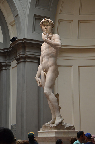 Shot at an odd angle, this photograph of Michelangelo's David makes it appear as if he's going to eat whatever is in his left hand. (image via David McSpadden'sFlickrstream)