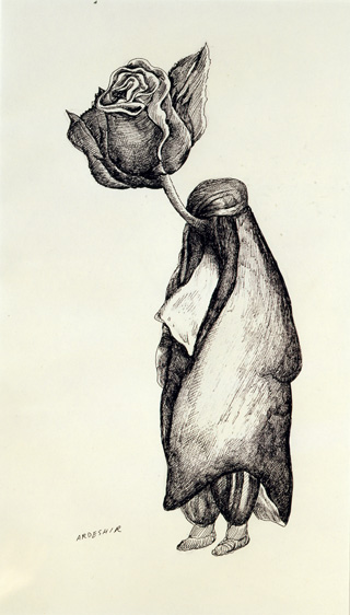 """Ardeshir Mohassess, """"Untitled"""" (1978), ink on paper, 17 x 12 1/12 in. (44.2 x 32.5 cm), Katayoun Beglari-Scarlet and Peter Scarlet Collection."""