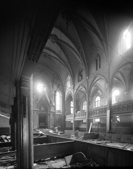Edmund V. Gillon, [172-176 Norfolk Street.] (c. 1979), polyester negative, 5 x 4 in. Originally Congregation Anshe Chesed, onetime Ohab Zedek, later Anshe Slonim, eventually the Angel Orensanz Foundation