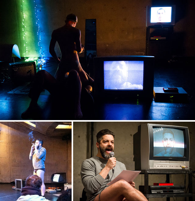 """Top: Miguel Gutierrez and Conor Voss performing """"myendlesslove"""" (photo by Bylan Douglas); bottom: Miguel Gutierrez in """"myendlesslove"""" (left photo by the author for Hyperallergic, right photo by Bylan Douglas)"""