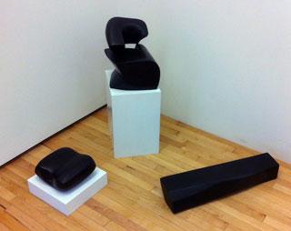 "Horwitt-sculpture-320""Will Horwitt: Drawings from the 60′s,"" installation view of three sculptures, ""Curved Space"" (1972), bronze; ""Leda"" (1961–62), bronze; ""Sleep"" (1959), bronze"