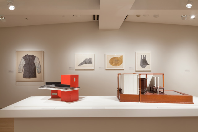 """Works by Siah Armajani at Iran Modern, including """"Shirt #1"""" (1958) in back left."""