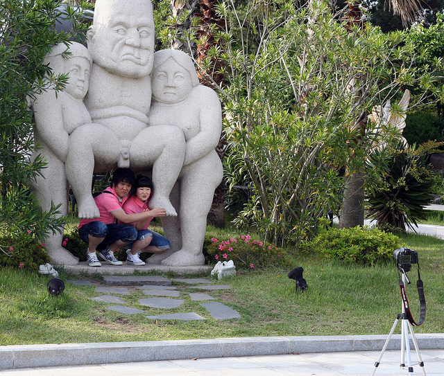 Posing outside Jeju's Museum of Health and Sex (photo by Ben Kucinski, via Flickr)