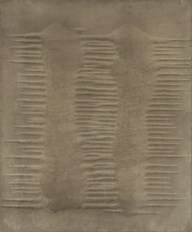 """Marcos Grigorian, """"Untitled"""" (1963), sand and enamel on canvas, 30 x 25 in. (76.2 x 63.5 cm), Grey Art Gallery, New York University Art Collection, Gift of Abby Weed Grey, 1975."""