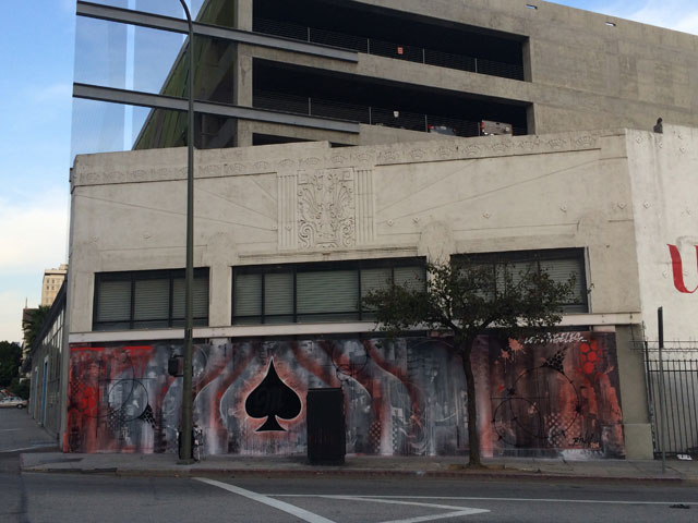 Risk's Miller Fortune mural for the LA Freewalls Project (all photos by the Hrag Vartanian for Hyperallergic)