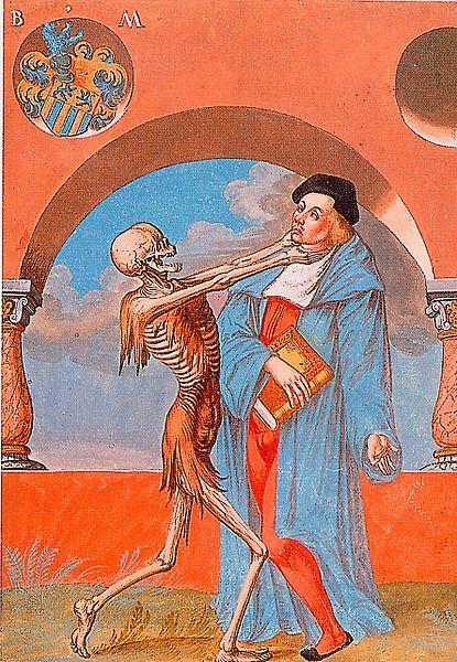 "Albrecht Kauw, 1649 goauache from Niklaus Manuel's ""Dance of Death"" mural (via Musée historique de Berne)"