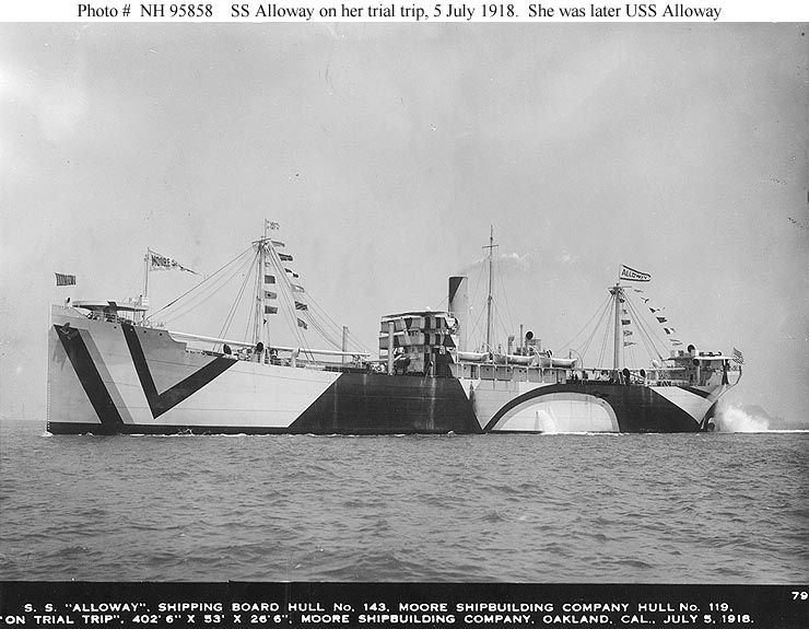 S.S. Alloway freighter (1918) (via U.S. Naval Historical Center)