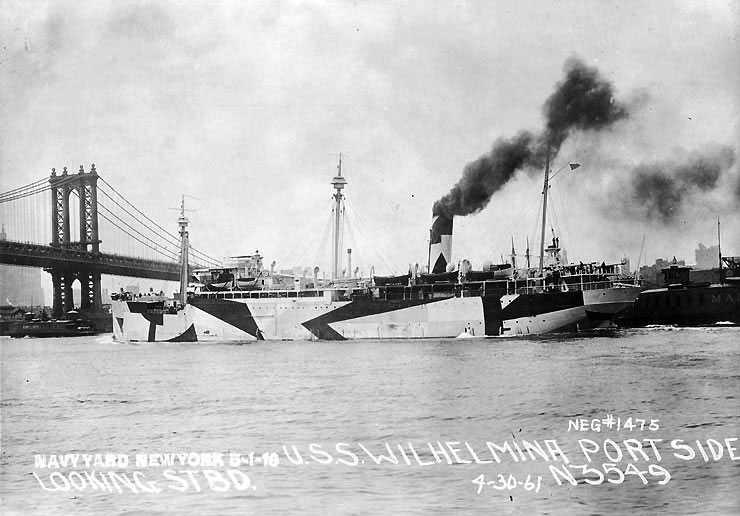 USS Wilhelmina in 1918 on the East River (via U.S. Naval Historical Center)