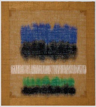 """Salvatore Emblema, """"Untitled,"""" 1978, tinded soil on de-threaded burlap, 39 1/3 x 35 1/2 in (image via bosicontemporary.com)"""