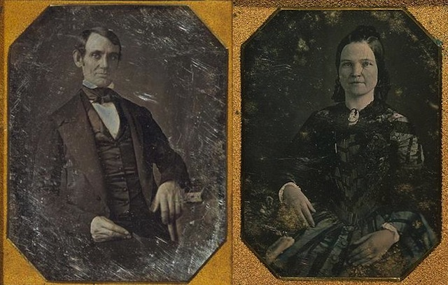 A daguerreotype of Abraham and Mary Lincoln a few years after their 1842 marriage