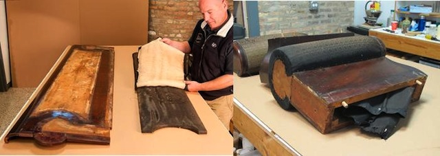 Uncovering the original upholstery in the restoration