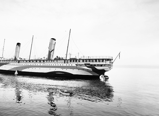 """Thomas Bangsted, """"SS Coeur d'Alene (Under Refit for Troop Transport)"""" (2012--2014), pigment print, 63 x 86.7 inches"""