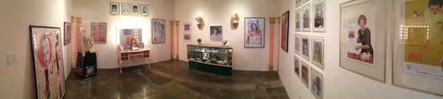 """Panorama of Lenae Day's """"Prescott Pictures"""" exhibition at Mark Moore Gallery. Photograph by the author for Hyperallergic."""