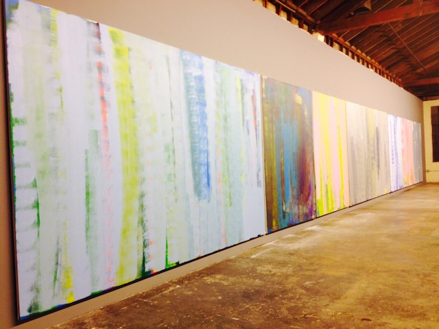"Scott Reeder, row of ""Untitled"" paintings (2014)"