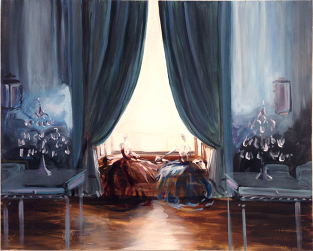 """Kimberly Brooks, """"Blue Drawing Room"""" (2014), oil on linen, 32 x 40 in (all images courtesy the artist)"""