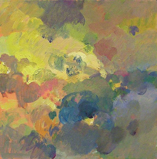 """Walker Buckner, """"Full Sky IV"""" (2012), oil on canvas, 16 x 16 in (image courtesy Lori Bookstein Fine Art)"""