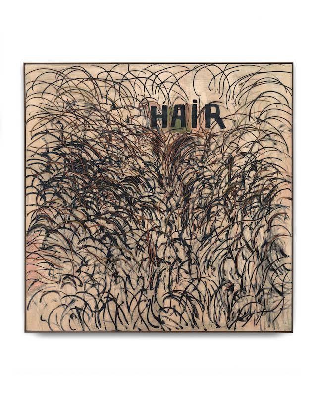 "Jim Dine, ""Hair"" (1961). Oil on canvas. 183 x 183 cm / 72 x 72 inches. © ARS, NY and DACS, London 2014. Courtesy Onnasch Collection. Photo: Alex Delfanne"
