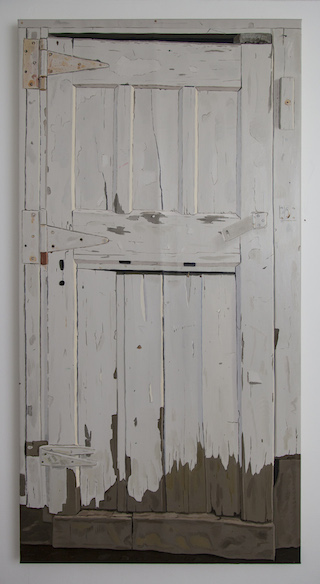 Halvorson, _Woodshed (Door)_ (2013, 70_ x 35_ , 0il on linen)