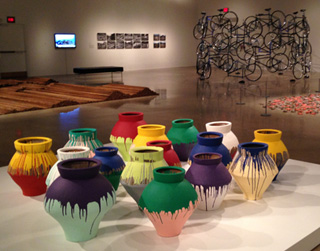 """A view of the undamaged """"Colored Vases"""" artwork as it appeared at the Art Gallery of Ontario last August in Toronto. (photo by the author for Hyperallergic)"""