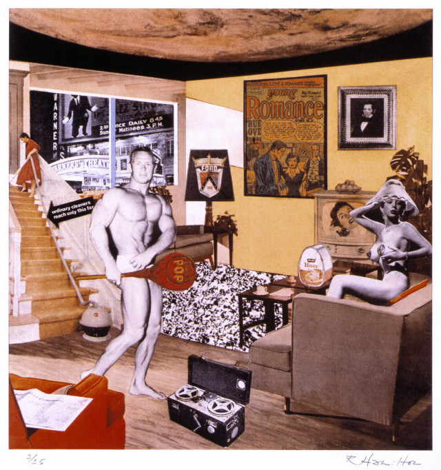 "Richard Hamilton, ""Just what was it that made yesterday's homes so different, so appealing?"", 1992 (re-edition of the 1956 original collage) (courtesy Tate © Richard Hamilton 2005. All rights reserved, DACS)"