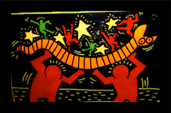 """""""The Snake"""", acrylic on canvas, circa 1985, attributed to Keith Haring."""