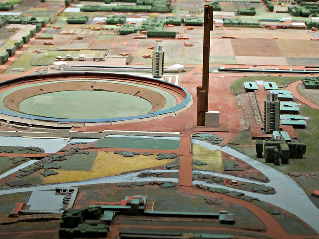 Detail of Broadacre City, showing a sports arena, hotel, and other structures