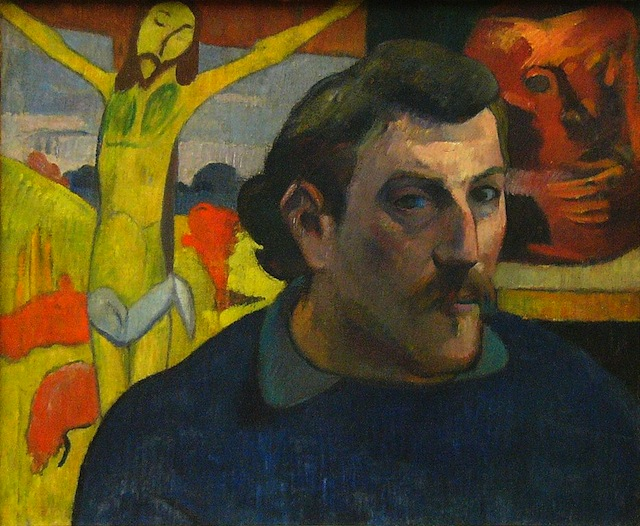 """Paul Gauguin, """"Portrait of the Artist with the Yellow Christ"""" (1889), oil on canvas (via Musée d'Orsay)"""