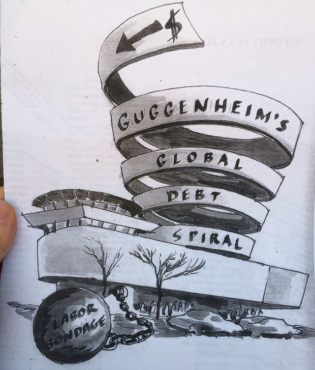 The front cover of an informational brochure distributed during a protest at the Guggenheim Museum, designed by Noah Fischer of Occupy Museums (photo by Mostafa Heddaya/Hyperallergic) (click to enlarge)