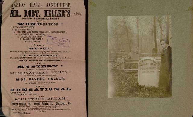 "Houdini's ""Magicians scrapbook"" (1821–1939), showing Houdini at"